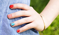 Red, white and blue manicure
